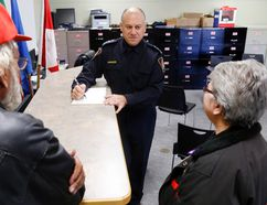 Intelligencer file photo Stirling-Rawdon Police Chief Dario Cecchin makes notes while listening to the policing concerns of Harold residents George and Betty Bailey Saturday, November 12, 2016 in Stirling-Rawdon. They were among the visitors during his Meet the Chief event, a two-hour chance for the public to provide feedback.