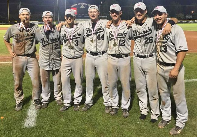 Jaxon Valcke (No. 12) played for the Burnaby Bulldogs' team that won the Baseball Canada Senior Men's National Championship in late August. (Contributed photo)
