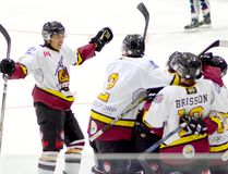 Timmins Rock defenceman Jared Hester, left, and his teammates celebrate a goal during the NOJHL team's 4-3 exhibition victory over the Cochrane Crunch at the Jus Jordan Arena in Iroquois Falls on Aug. 27. The Rock have had little to celebrate in terms of goal since the start of the regular season as they have found the back of the net just four times in four games. They will be hoping to change that Tuesday night when they host the Cochrane Crunch at the McIntyre Arena. Game time is 7 p.m. THOMAS PERRY/THE DAILY PRESS