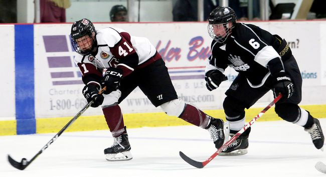 Chatham Maroons' Dane Johnstone (41) is chased by Komoka Kings' Liam Fayle (6) at Chatham Memorial Arena on Sunday, Sept. 17, 2017. (MARK MALONE/The Daily News)