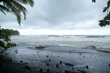 """TOPSHOT - A picture shows the ocean on September 18, 2017, in Basse-Terre, on the Fench Caribbean island of Guadeloupe, as Hurricane Maria approaches the Caribbean.  Hurricane Maria strengthened rapidly on September 18 as it blasted towards the eastern Caribbean, forcing exhausted islanders -- still recovering from megastorm Irma -- to brace for the worst again. The US National Hurricane Center (NHC) said the """"major hurricane"""" had intensified to Category 3 as it approached the French island of Guadeloupe, the base for relief operations for several islands devastated by Irma this month.   / AFP PHOTO / Cedrick Isham CALVADOSCEDRICK ISHAM CALVADOS/AFP/Getty Images"""