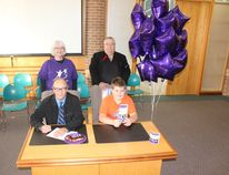 On Monday, September 8, Big Brothers Big Sisters Month was declared in Melfort; back (L to R) Kathy Carswell and Murray a Big for the organization; front (L to R) Mayor RIck Lang and Rory a Little for the organization.