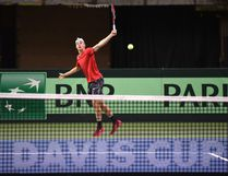 Team Canada member Denis Shapovalov returns the ball during practice in preparation for the Davis Cup Friday at Northlands Coliseum last Tuesday. Ed Kaiser, Postmedia Network