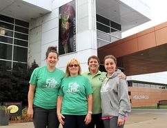 St. Clair College is gearing up to celebrate its 50th anniversary by hosting a Homecoming Weekend at the Chatham campus Friday, September 29 to October 1, 2017. Pictured from left, is Stephanie Woodall, Mary Beth Rush, Dale Jerrell and Andrea Brown, some of the 50th anniversary committee members who are working hard to stage a memorable event. They are shown in front of the Healthplex, which makes up $11 million over the more than $20 million that has been invested in the Chatham, Ont. facility since 2004. (Ellwood Shreve/Chatham Daily News/Postmedia Network)