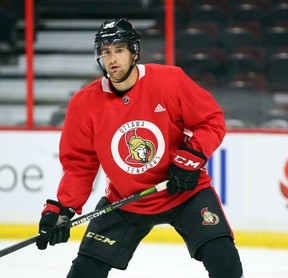 Colin White of the Ottawa Senators during morning skate at Canadian Tire Centre in Ottawa on Sept. 18, 2017. (Jean Levac/Postmedia)