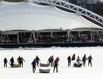 Four of the five teams of racers entered in the event head out from the Whitecap Pavilion at the start of the Great Canadian Canoe Race, the closing event of the 2017 Kenora Winter Carnival on Sunday, March 5. Tourism Kenora has opened applications for its Tourism Grant that will give priority to events held in the shoulder or winter seasons. FILE PHOTO
