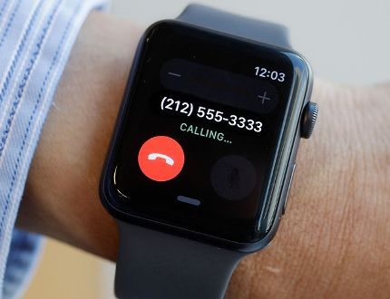 In this Sept. 15, 2017, photo, the non-cellular version of the Apple Watch Series 3 is displayed in New York. The new watch comes out Friday, Sept. 22. (AP Photo/Mark Lennihan)