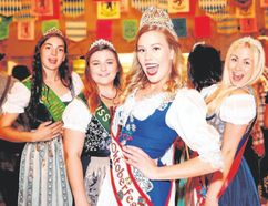 Miss Oktoberfest contestants, are ready to party in their dirndls.