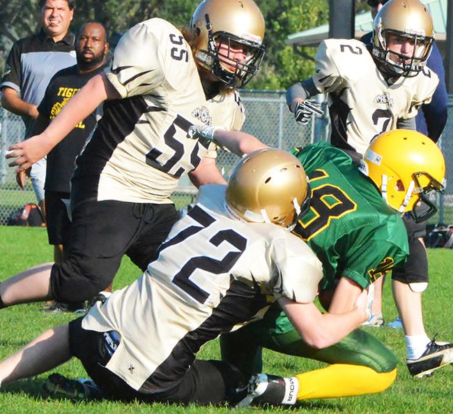 Action from last week's annual Bay of Quinte pre-season exhibition football jamboree (CSS vs. THS) at MAS Park. (Catherine Frost for The Intelligencer)