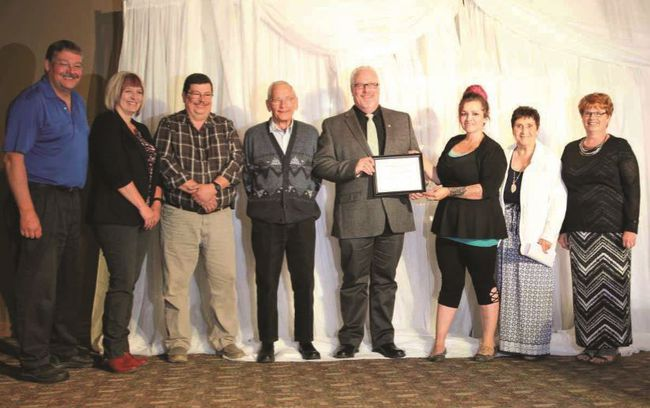Photo Supplied On Sept. 13, Holy Family Catholic Regional Division (HFCRD) and Peace River School Division (PRSD) presented the Town of Grimshaw with the Alberta School Boards Association (ASBA) Zone One 'Friends of Education Award' at the ASBA Zone One Awards Banquet. The Friends of Education Award recognizes individuals or groups who have made a special contribution to education and student learning. See Page 2 for the story.