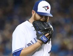 Brett Anderson of the Toronto Blue Jays exits the game as he is relieved in the second inning during MLB action against the Kansas City Royals at Rogers Centre on Sept. 20, 2017. (Tom Szczerbowski/Getty Images)