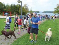 Photo by KEVIN McSHEFFREY/THE STANDARD More than 100 people took part in the 37th Annual Terry Fox Run in Elliot Lake on Sunday. There were also seven dogs.