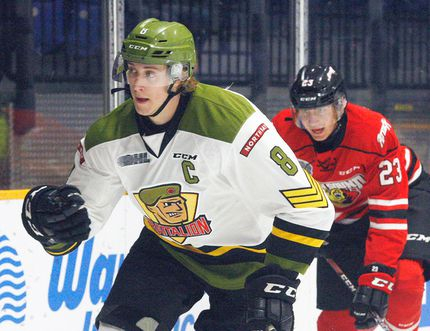 North Bay Battalion captain Riley Bruce (8) is back on the ice to lead the Troops into the 2017-18 OHL campaign after recovering from the shoulder injury that cut his season short last year. Dave Dale / The Nugget