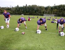 Members of the Beaver Brae Broncos defensive line - Dylan Harty (left), Jordan Vidomski, Jagger Ochapowace and Cole Tattrie - haven't allowed an opposition point through two games in the Winnipeg High School Football League season. SHERI LAMB/Daily Miner and News/Postmedia Network