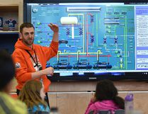 Sherwood Park's Jason Rimmer, assistant manager of engineering with Rogers Place, explains the system flow for the Oilers' ice surface. Photo by Ed Kaiser/Postmedia Network