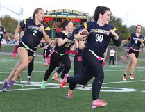 High school flag football kicked off with a game between the Notre Dame Alouettes and the Lively Hawks in Sudbury, Ont. on Monday September 18, 2017. Sarah Bonin of the Notre Dame Alouettes makes a run with the ball.Gino Donato/Sudbury Star/Postmedia Network