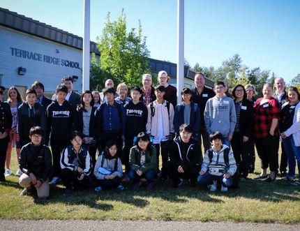 The annual delegation from Lacombe's twin town of Rikubetsu, Japan, this year consisting of 11 Grade 8 students and two chaperones, arrived in Lacombe on Saturday. They were welcomed at Terrace Ridge School and are pictured here with their host families and members of the Rikubetsu Friendship Society. (Ashli Barrett/Lacombe Globe)