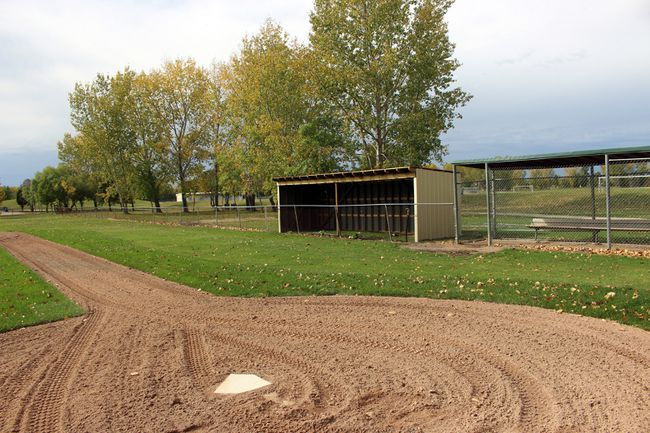 Diamonds 7 and 8 at Republic Park received some much needed improvements, included sheltered dugouts and narrowed basepaths. (Aaron Wilgosh/The Graphic)