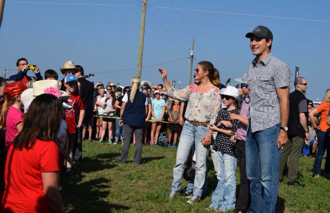 Prime Minister Justin Trudeau, wife Sophie Gregoire Trudeau and children Ella-Grace, Hadrien and Xavier greet Grade 1 and 2 pupils from St. James Catholic elementary school in Seaforth. The students wrote a letter to the prime minister inviting him to attend this year's International Plowing Match and Rural Expo. (Jennifer Bieman/The London Free Press)