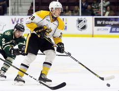 Connor Schlichting (20) of the Sarnia Sting plays against the London Knights in an OHL exhibition game at Progressive Auto Sales Arena in Sarnia, Ont., on Saturday, Sept. 2, 2017. (Mark Malone/Postmedia Network)