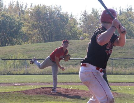 <p>Cornwall River Rats pitcher Nate Van Putten sends a ball flying at Gatineau Marc Sports player Martin Charron during Game 2 of the NCBL final on Sunday September 24, 2017 in Cornwall, Ont. </p><p> Alan S. Hale/Cornwall Standard-Freeholder/Postmedia Network