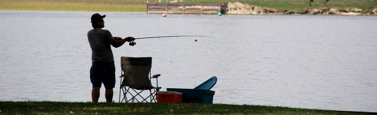 Anglers were out at Mitchell's Bay on Monday, taking advantage of the warm weather. (Trevor Terfloth/The Daily News)