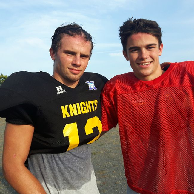 Quarterback Nigel LeGood, right, connected with his brother Grant, a slotback, for two touchdown passes as the La Salle Black Knights opened the Kingston Area Secondary Schools Athletic Association senior football season with a 35-6 win over the Kingston Blues on Friday. (Doug Graham/The Whig-Standard)