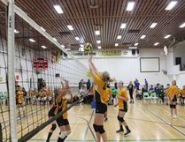 A Melfort Comets' Gold junior girls volleyball player gets up to make a hit against St. Brieux on Friday, September 22 at MUCC Gym.