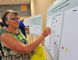 Norfolk resident Sandie Scott places a sticker on an information board at Monday's county recreation facilities town hall meeting in Port Dover. About 75 people turned out to voice their opinion regarding the proposed project. JACOB ROBINSON/Simcoe Reformer