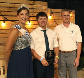 A local youth joined the winning circle, Brussels Agricultural Society Special award went to Brandon McGavin of Walton at the 2017 Celebration of Excellence banquet at the Brussels arena Sept. 22. (Shaun Gregory/Huron Expositor)