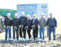 Cervus held a sod turning to celebrate the start of construction for a 28,000 square foot facility in Hanna, on Sept. 19, outlining their plans for the land and their 2018 deadline. (Jackie Irwin/ Hanna Herald/ Postmedia Network)