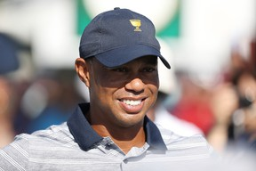 Captain's assistant Tiger Woods of the U.S. Team looks on during practice rounds prior to the Presidents Cup at Liberty National Golf Club on Sept. 27, 2017. (Rob Carr/Getty Images)