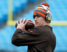 Johnny Manziel #2 of the Cleveland Browns warms up before their game against the Carolina Panthers at Bank of America Stadium on December 21, 2014 in Charlotte, North Carolina.
