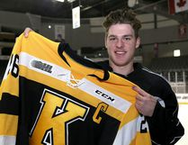 Ted Nichol of the Kingston Frontenacs with his captain's jersey at practice at the Rogers K-Rock Centre in Kingston on Wednesday Sept. 27 2017. Ian MacAlpine /The Whig-Standard/Postmedia Network