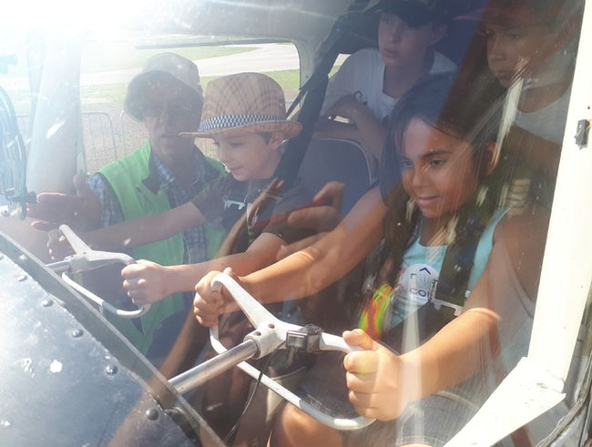 Kincardine COPA Flight 172 welcomed over 90 children to the Kincardine Municipal Airport for its COPA for Kids event to introduce aviation to young people. The organization plans to make it an annual event after the event's success on Sept. 23, 2017. Pictured: COPA volunteer Pat O'Cain teaches Quinn McGrath and Neveah Wright a bit about flying, letting them have a hands-on experience with the aircraft's controls. (Troy Patterson/Kincardine News and Lucknow Sentinel)