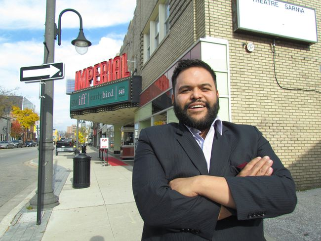 Ravi Srinivasan, executive director of the South Western International Film Festival, is shown in this file photo standing outside the Imperial Theatre in Sarnia.The festival has announced the music lineup for this year's CineGAZE series. (File photo)