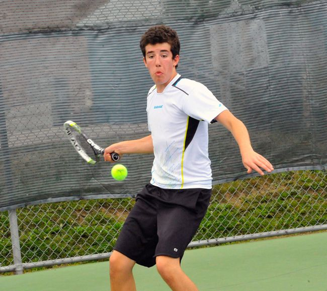 Ben Hoerdt of Waterford District High School shows off his forehand during the NSSAA Tennis Championships in Port Dover Thursday. Hoedrt finished second in the boys singles division. JACOB ROBINSON/Simcoe Reformer