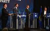 The second official debate of the United Conservative Party (UCP) Leadership Debate, from left Jason Kenney, Doug Schweitzer, Brian Jean and Jeff Callaway, at the Expo Centre in Edmonton, September 28, 2017. Ed Kaiser/Postmedia