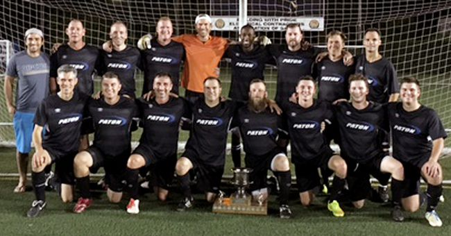 Paton Controls won the playoff, regular season and Cosmos Cup championships in the under-35 division of the Sarnia FC Men's Recreational Soccer League. Paton Controls beat Esso 3-0 in the playoff final Monday at Norm Perry Park. Team members are, front row, left: Julien Gomez, Dan Colussi, George Stoukas, Errol White, Nick Neinhuis, Craig Gunn, Trevor McEwan and Darien Primeau. Back row: Mario Brown, Kerry Joyce, Jeff Charron, Mike Griffin, Jamie McCahill, Shawn Menning, Brian Devlin, Jason Irwin and Erin White. Not pictured: Andrew Whitlock, Kellen Lindsay, Keith Johnson, Corey Jackson, Mitch Hodgins, Tyson Lindsay and Nick Vozza. (Contributed Photo)