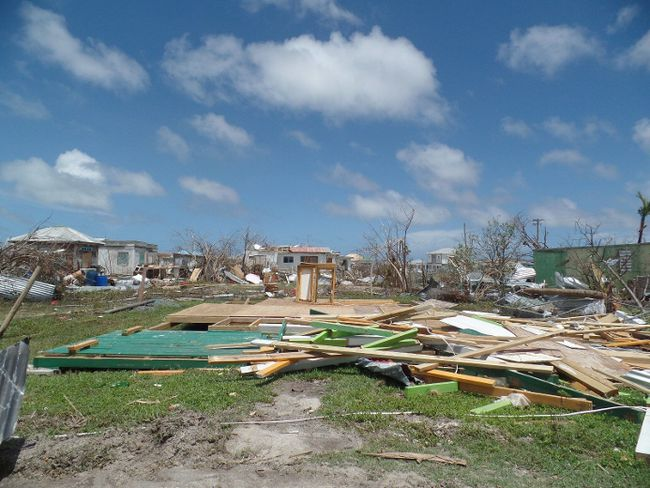 Houses are seen Sept. 8 in Codrington,  Antigua and Barbuda, following the devastation of hurricane Irma. (Gemma Handy/Getty Images)