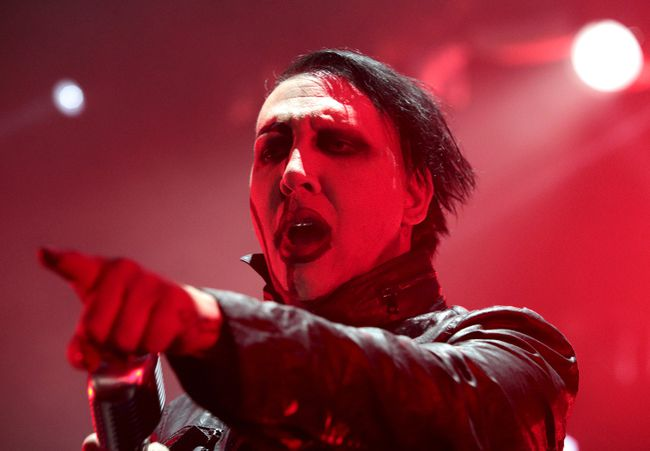 Marilyn Manson's representative said Saturday that the singer was injured in a mishap on stage during a New York City performance and taken to a hospital. (Owen Sweeney/Invision/AP/Files)