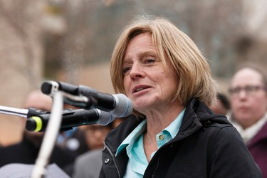 Premier Rachel Notley speaks at the Stand Together Against Violence in Solidarity with EPS vigil organized by Alberta Muslim Public Affairs Council at Churchill Square in Edmonton, Alberta after a police officer and four bystanders were injured in a terrorist attack on Sunday, October 1, 2017. Ian Kucerak / Postmedia