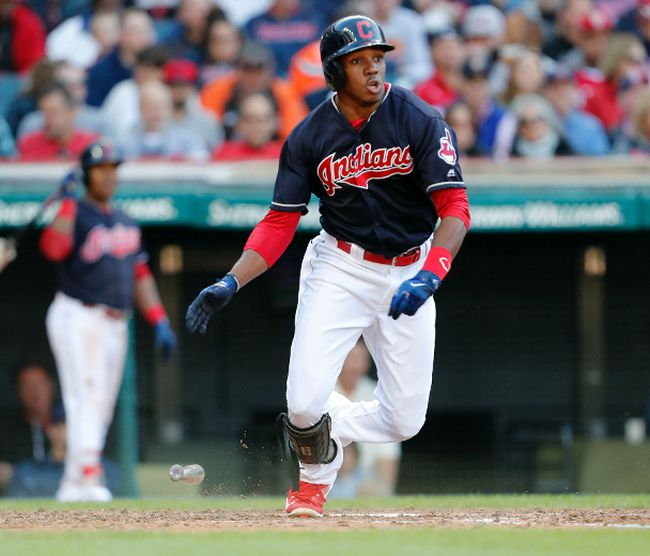 Greg Allen of the Cleveland Indians hits into a fielders choice against the Chicago White Sox in the seventh inning at Progressive Field on Oct. 1, 2017 in Cleveland, Ohio. (David Maxwell/Getty Images)