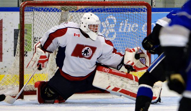 Owen Wray flashes the leather for one of 40-plus saves as the North Bay Major Bantam AAA Trappers went down in defeat 5-1 to the Nickel City Sons at the Powassan Sportsplex, Saturday. Tom Martineau Photo