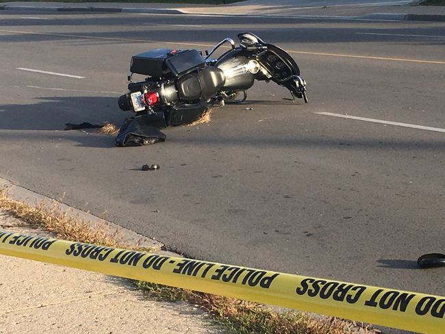 A motorcyclist was taken to hospital with unknown injuries Monday.  (MEGAN STACEY, The London Free Press)