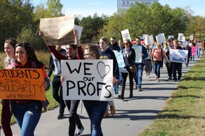 On Monday, Laurentian University students joined striking professors on the picket line in a show of solidarity.