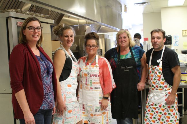 Left to right) Fall Supper Chair Rolanda Beaudette, Teacher Anna Svenungard, Teacher Michelle Wilson and Parent Volunteer Charlene Young who runs the kitchen for the Fall Supper, and St.Jerome's Vice Principal Sean Whelan.