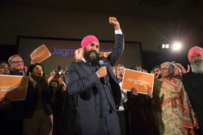 Jagmeet Singh celebrates with supporters after winning the first ballot in the NDP leadership race to be elected the leader of the federal New Democrats in Toronto on Sunday, October 1, 2017. (THE CANADIAN PRESS/Chris Young)