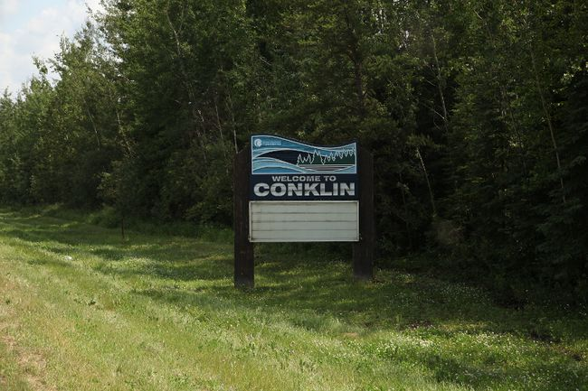 A sign welcoming visitors to the rural community of Conklin, located south of Fort McMurray, Alta., on July 14, 2017. Olivia Condon/ Fort McMurray Today/ Postmedia Network