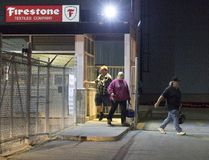 Workers leave Firestone Textiles Company in Woodstock on Wednesday after a morning meeting to announce that the plant will close in 2018. Derek Ruttan/The London Free Press/Postmedia Network